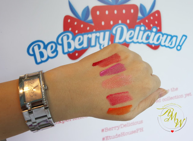 a swatch photo of Etude House  Berry Delicious Color in Liquid Lips