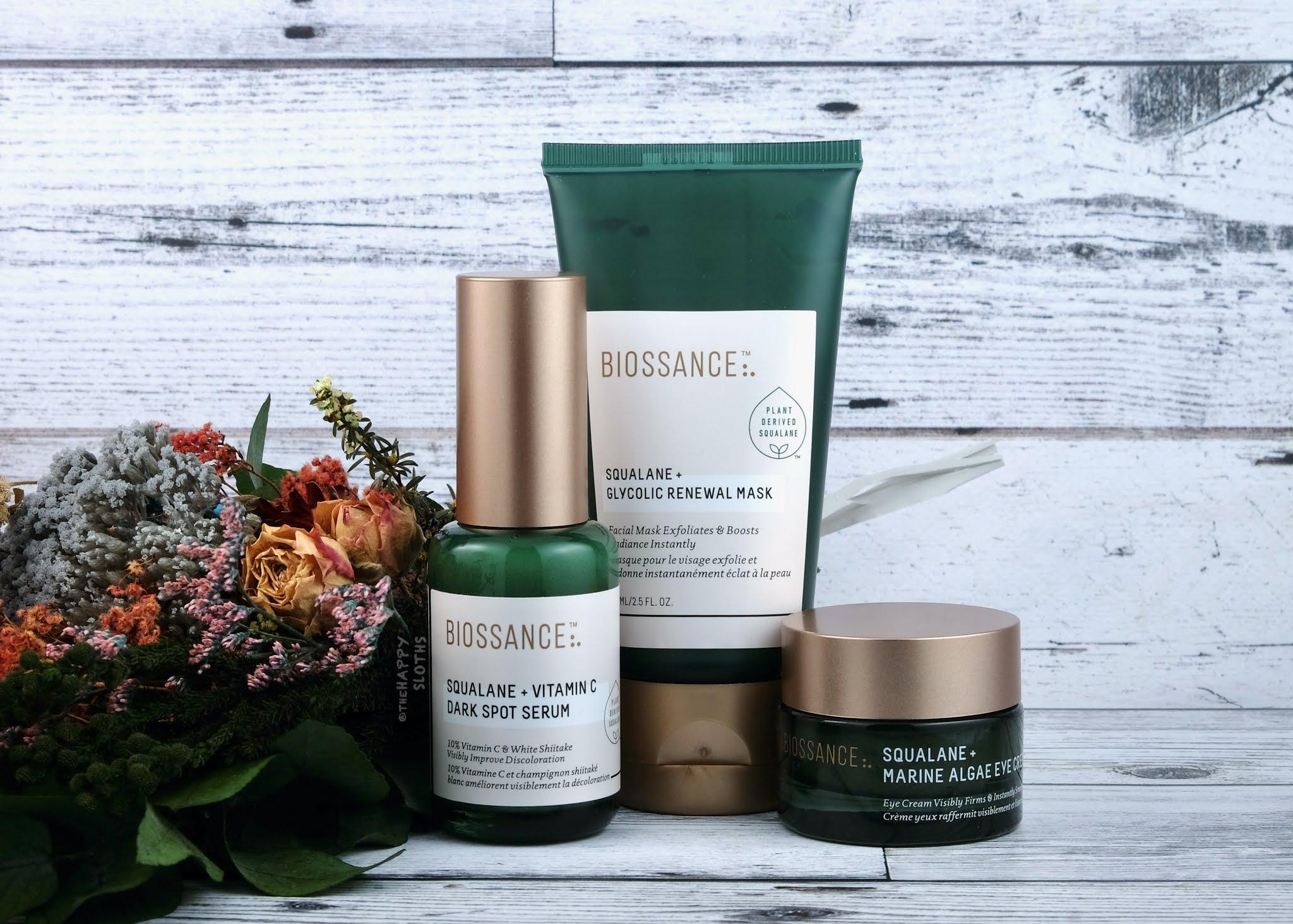 Biossance | Squalane + Glycolic Renewal Mask, Squalane + Vitamin C Dark Spot Serum & Squalane + Marine Algae Eye Cream: Review