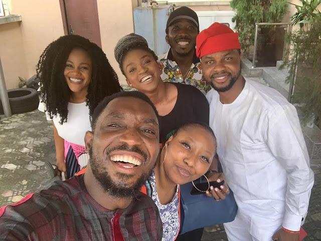 Timi Dakolo  and his wife, Busola Dakolo host Waje, Bovi, and Debola Wiliams in their home [Photos]