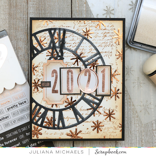 Hello 2021 Card by Juliana Michaels featuring Scrapbook.com, Tim Holtz and a Minc Foiled Background