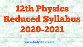12th Physics Reduced syllabus 2021 Pdf Download