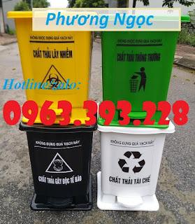 Thùng rác y tế, thùng đựng rác y tế đạp chân, thùng rác đạp chân