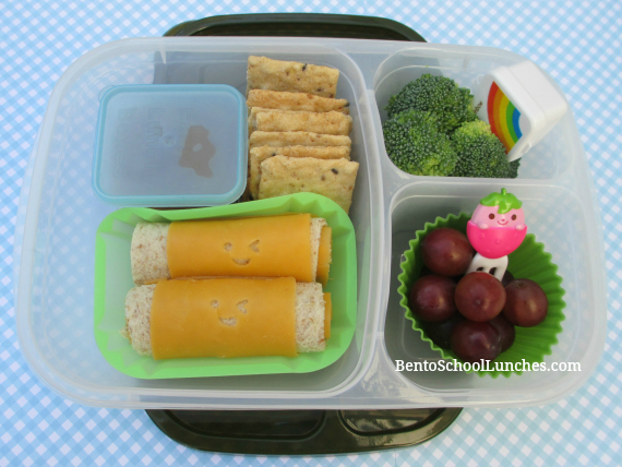 Bread roll ups, fun cheese faces, Easylunchboxes urban, bento school lunches