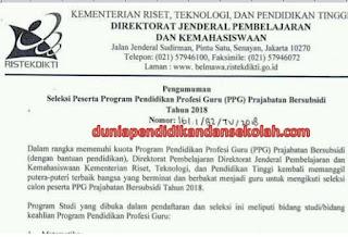 Bersiap ! Penerimaan PPG Prajabatan Tahun 2018 Dibuka