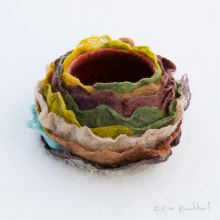 Embellished wet-felted bowl.