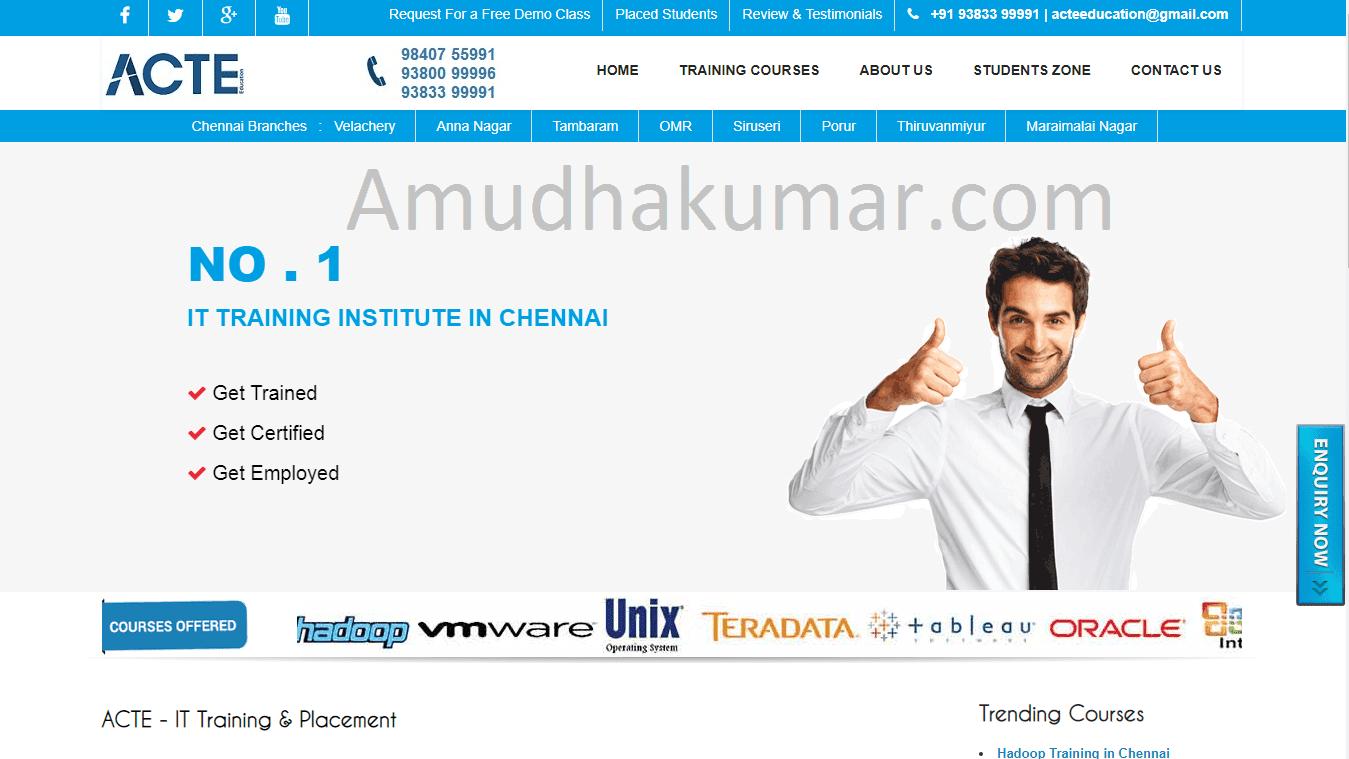 ACTE Digital Marketing Training Course Institutein Chennai - Amudhakumar