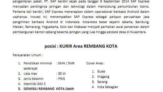 Lowongan Kerja Sap Express Area Rembang Mei 2019 Kurir Loker Swasta