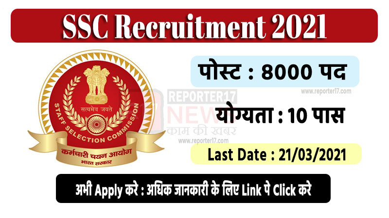 Staff Selection Commission Recruitment 2021