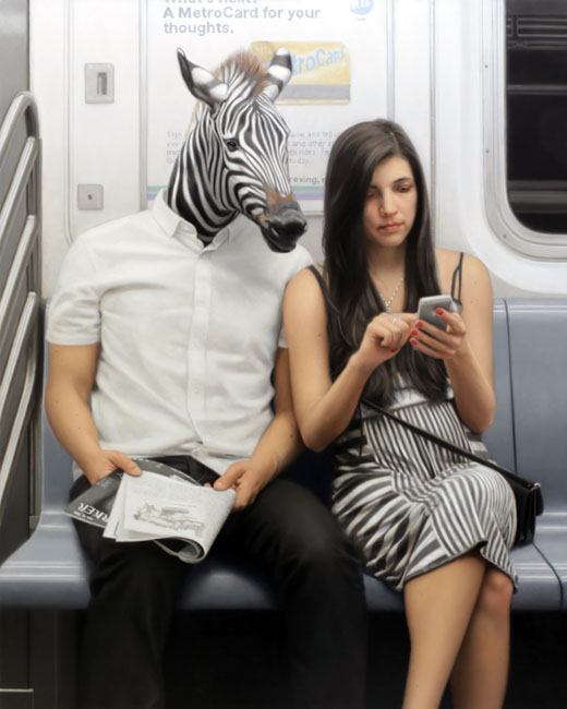 09-Exit-At-Union-Square-Zebra-Matthew-Grabelsky-Paintings-of-Animal-Human-Hybrids-on-the-Subway-www-designstack-co