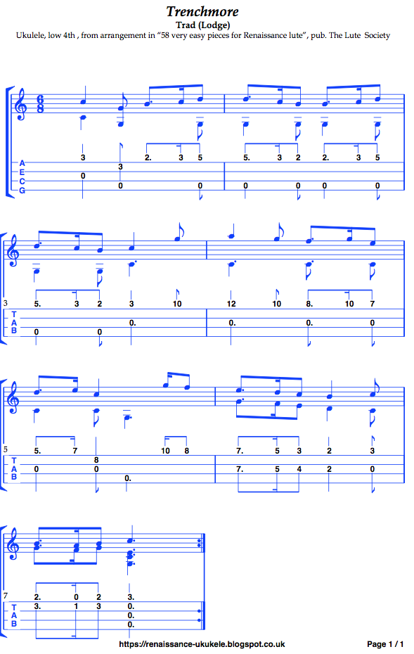 Music tablature tabs Ukulele Low-G transcription Trenchmore