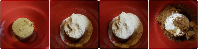 1/4 C. brown sugar, 1/4 C. flour, pinch of salt, 2 T. cocoa powder