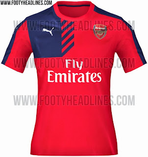 gambar photo Jersey training Arsenal pertama warna merah musim 2015/2016