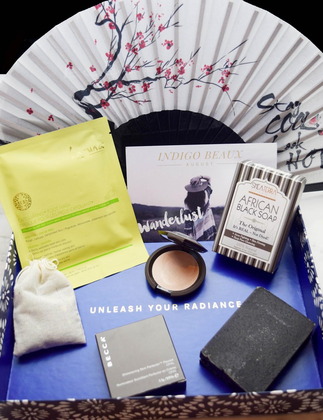 subcription box, ingigo beaux, must have, becca cosmetics, black soap, ingido beaux subscription box