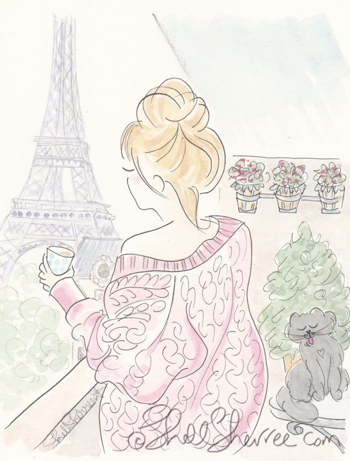 Eiffel Tower and a Whole Latte of Lovin' Paris illustration © Shell Sherree