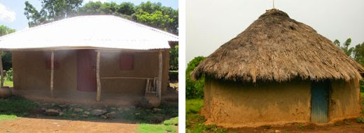 A new metal roof on the left, a thatched roof on the right