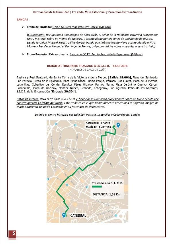 Itinerario de la Hermandad de Humildad de Málaga para el traslado a la catedral y para la procesión triunfal de regreso.