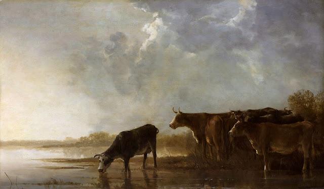 Альберт Кёйп - Речной пейзаж с коровами. 1640-50