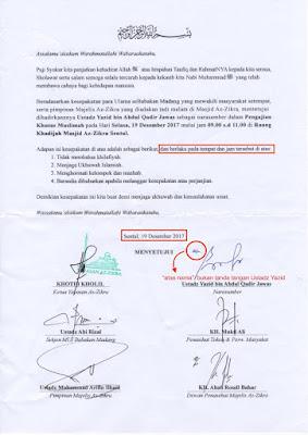 surat kesepakatan Ustadz Yazid Hafizahullah