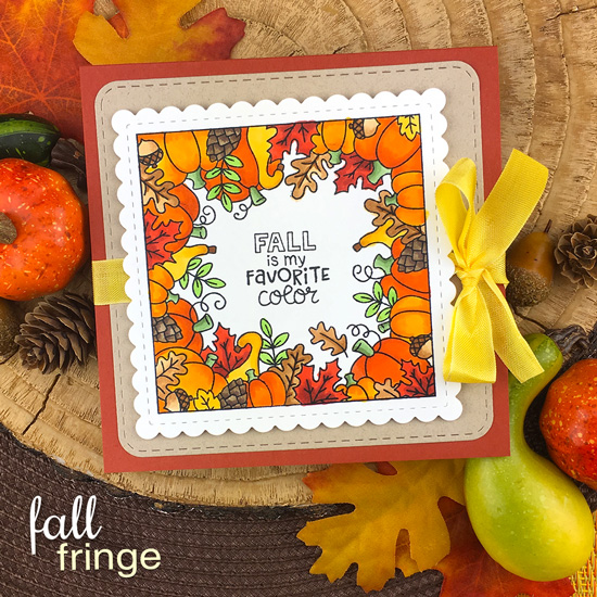 Fall is my Favorite Color Card by Jennifer Jackson | Fall Fringe Stamp Set and Frames Squared Die Set by Newton's Nook Designs #newtonsnook #handmade