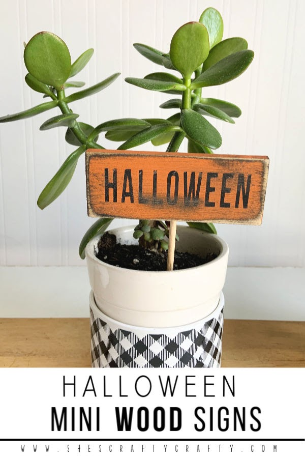 Make these darling mini Wood Signs for Halloween from scrap wood  |  She's Crafty