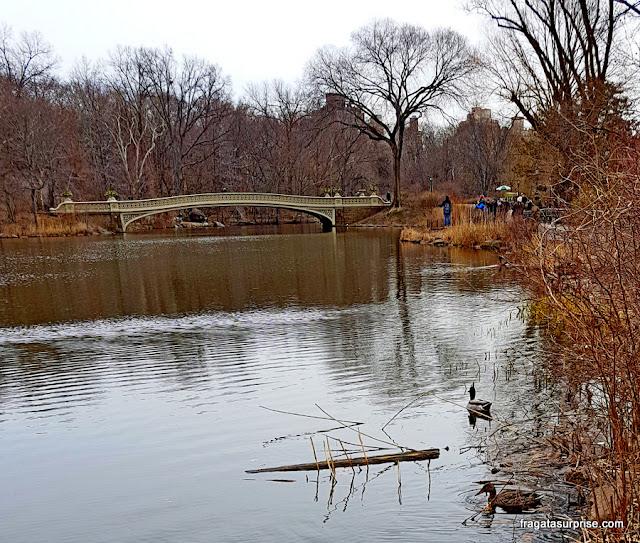 Lago do Central Park e Bow Bridge, Nova York