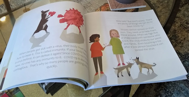 A two-page spread of one of Adam Wallace's children's books