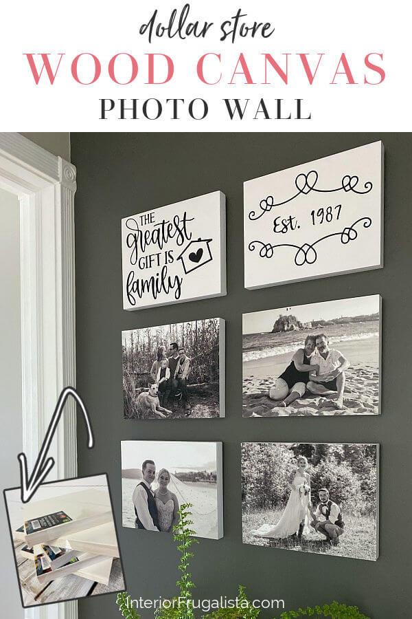 Dollar Store Wood Canvas Photo Wall