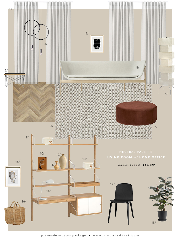Pre-made e-decor package: Neutral palette living room with home office. Moodboard by Eleni Psyllaki for My Paradissi