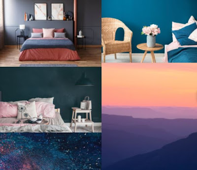 Blue and pink interior design moodboard