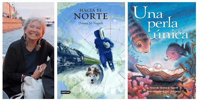"""Donna Jo Napoli y portadas de los cuentos """"Hacia el norte"""" y """"Una perla única"""" de los que es autora"""