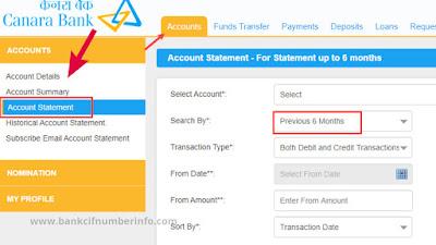Go to Account Statement option