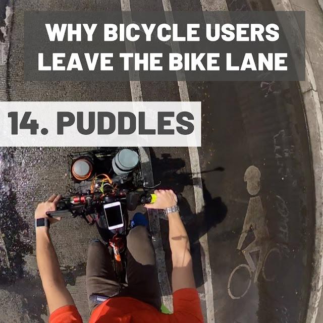Puddles along bike lanes