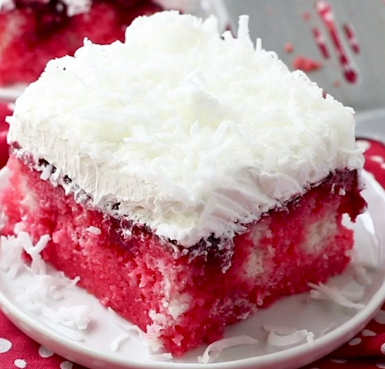 RASPBERRY ZINGER POKE CAKE #desserts #holidayrecipes
