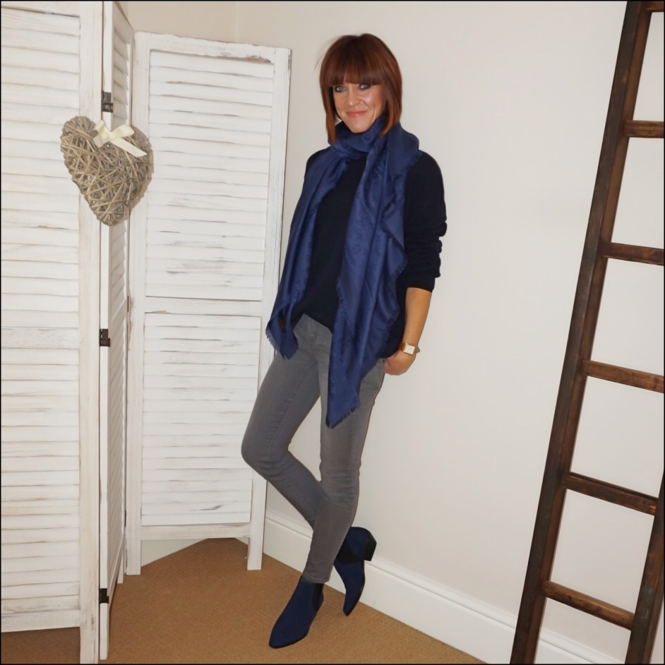 my midlife fashion, louis vuitton monogrammed shawl, j crew 8 inch toothpick jeans, marks and spencer suede western ankle boots