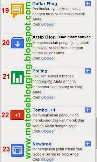 Mengenal 27 Gadget Dasar Blogger Blogspot dan Fungsinya