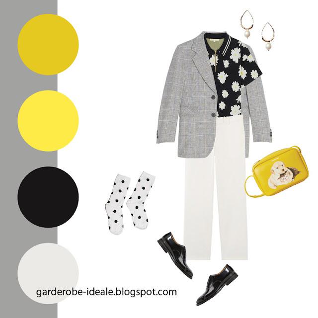 Серый жакет оверсайз с рубашкой поло и белыми джинсами