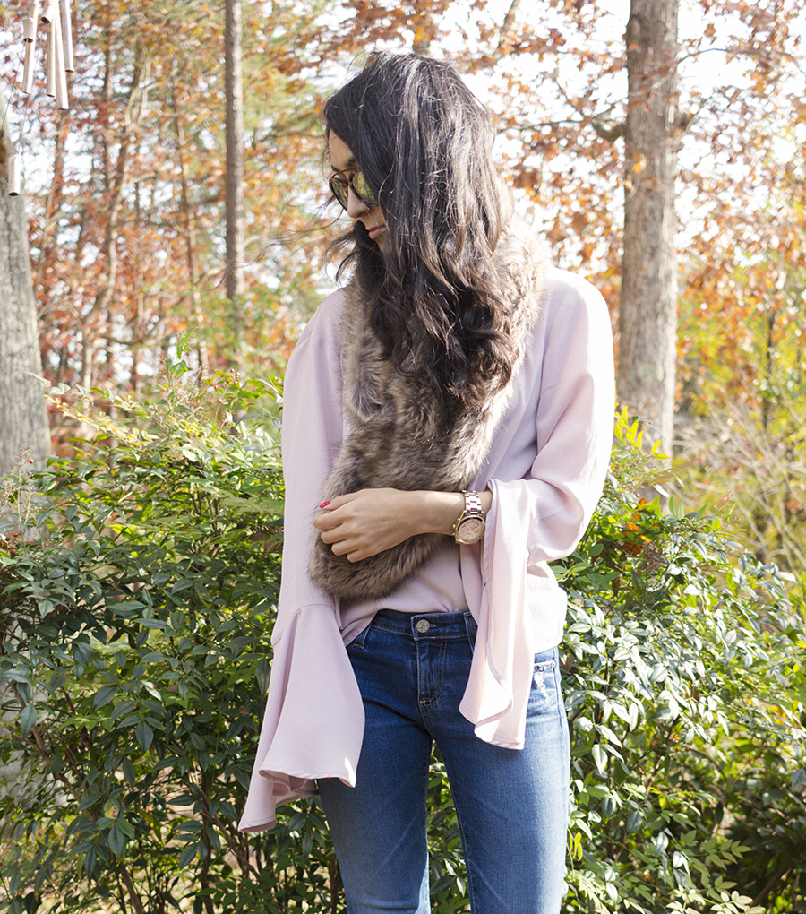 girly pink faux fur scarf outfit