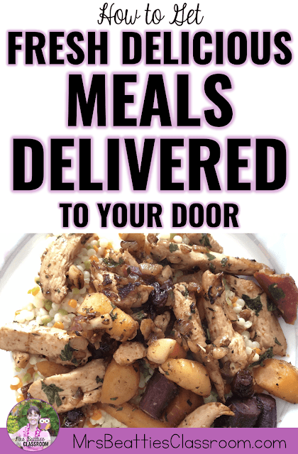 "Photo of meal with text, ""How to Get Fresh Delicious Meals Delivered to Your Door."""
