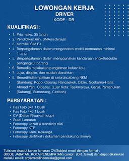 Lowongan Kerja Driver PT. Anyar Retail Indonesia