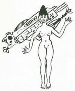 Representación de Oryana, la diosa Orejona de Tiahuanaco