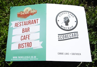 Scorecard from the Canoe Lake Mini Golf course in Southsea