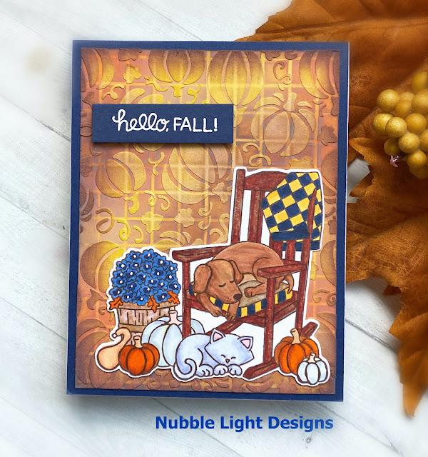 Hello Fall Card by September Guest Designer Priscilla Joseph   Fall Friends Stamp Set and Pumpkin Patch Stencil by Newton's Nook Designs #newtonsnook #handmade