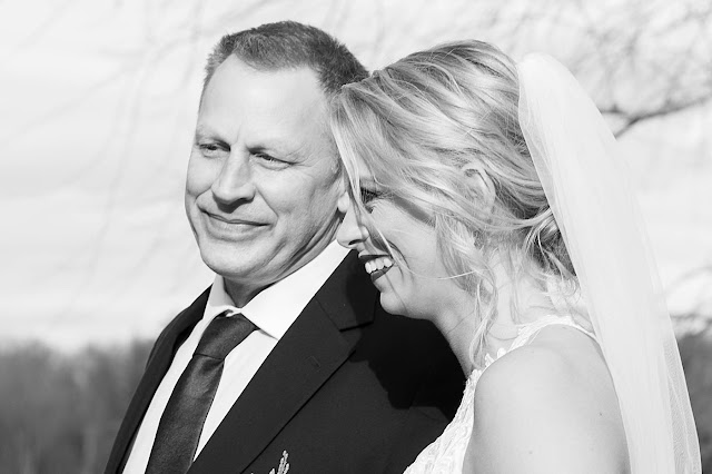 B&W closeup portrait of Bride and father Magnolia Farm Asheville Wedding Photography captured by Houghton Photography