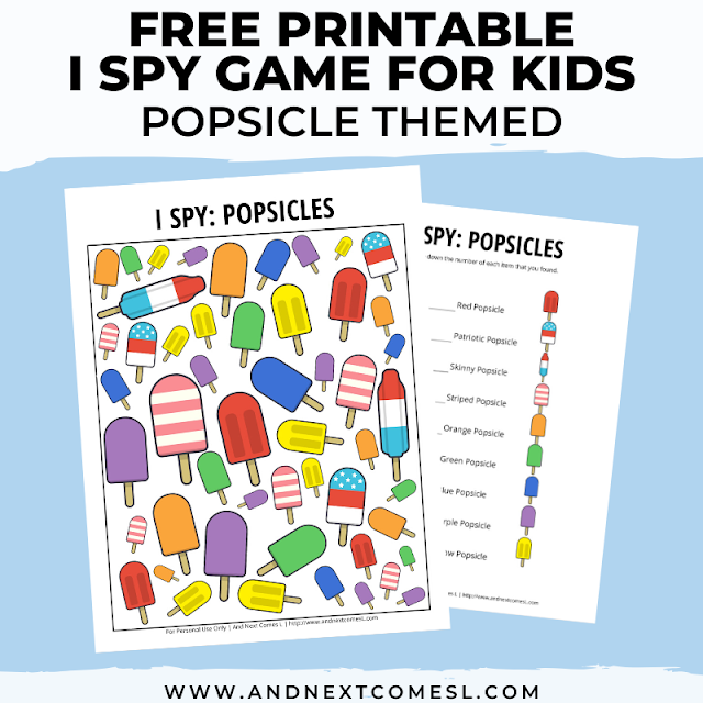 Free I spy game printable for kids: popsicle summer themed
