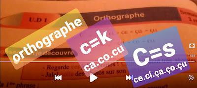ORTHOGRAPHE:c=s/c=k/ce ci.ça.ço.çu/ca.co.cu.4eme année/unité didactique 1
