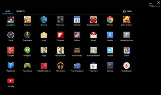 Antarmuka utama aplikasi ini menjalankan Android pada komputer AMIDuOS