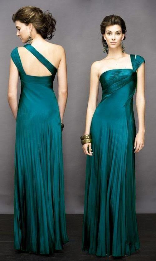 Vestidos largos verde petroleo