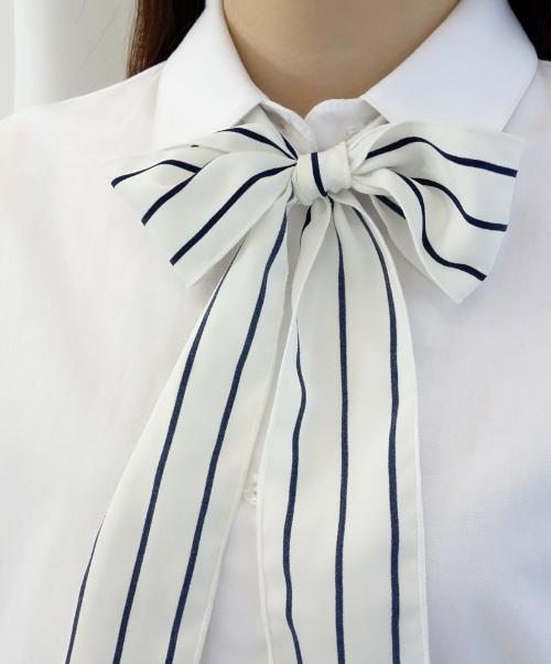 White Contrast Stripe Self-Tie Strap