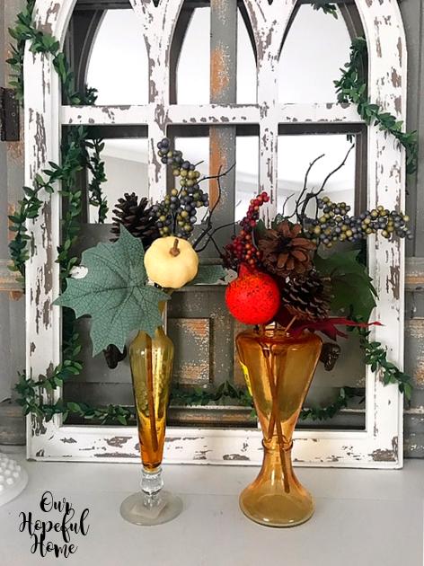 amber bud vase fall foliage mantel decor