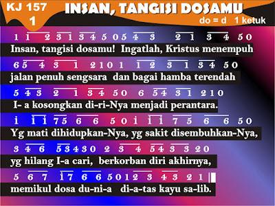 Lirik dan Not Kidung Jemaat 157 Insan, Tangisi Dosamu